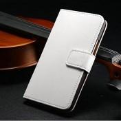 Leder Case mit Kartenslot für HTC One M7 weiss