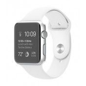 Apple Watch Sport, 42mm Aluminiumgehäuse, Silver, mit Sportarmband, White