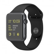 Apple Watch Sport 42mm Aluminiumgehäuse, Silver, mit Sportarmband, Black