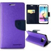 Mercury Goospery - Samsung Galaxy S6 Leder Tasche Flipcase - Lila / Dunkelblau