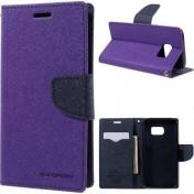 Mercury Goospery - Samsung Galaxy S7 Leder Tasche Flipcase - Lila / Dunkelblau