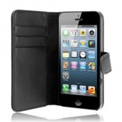 Xqisit Wallet Leather Case für iPhone 5 - Schwarz