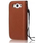 Samsung Galaxy S3 i9300 Leder Tasche Geldbörse - Hell / Dunkelbraun