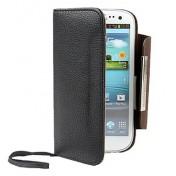 Samsung Galaxy S3 i9300 Leder Tasche Geldbörse - Schwarz