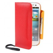 Samsung Galaxy S3 i9300 Leder Tasche Geldbörse - Rot